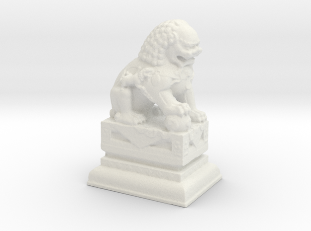 Manhattan Chinatown Lion  in White Natural Versatile Plastic: Small