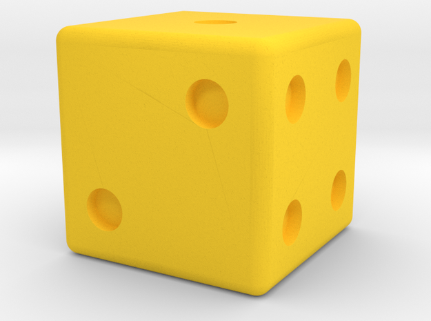 dice in Yellow Processed Versatile Plastic