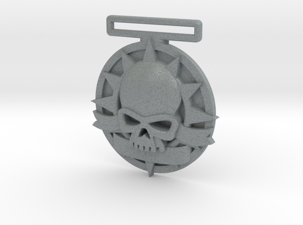 Small Tournament Medal : Blank Halo Skull  in Polished Metallic Plastic