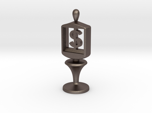 Currency symbol figurine,Dollar in Polished Bronzed Silver Steel