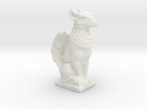 Griffin Statue in White Natural Versatile Plastic: Small