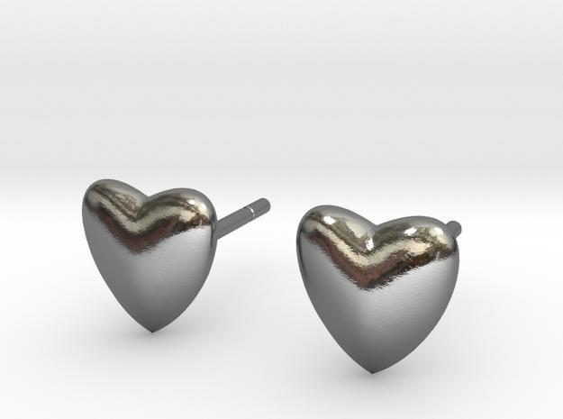 earpins heart in Polished Silver