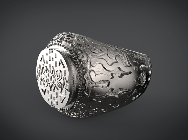 Tribal totem ring in Polished and Bronzed Black Steel: 10 / 61.5