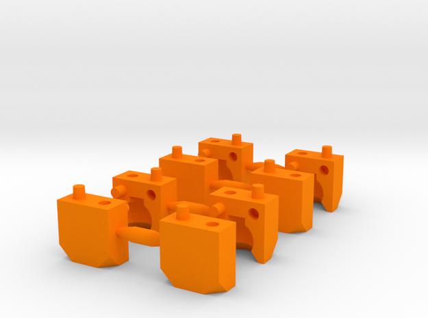 2 Part Ball Socket Sprue Small Scale in Orange Processed Versatile Plastic