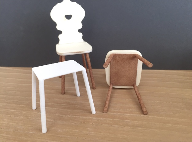 Set of Chair legs slanted 10%, 1:12 in White Processed Versatile Plastic