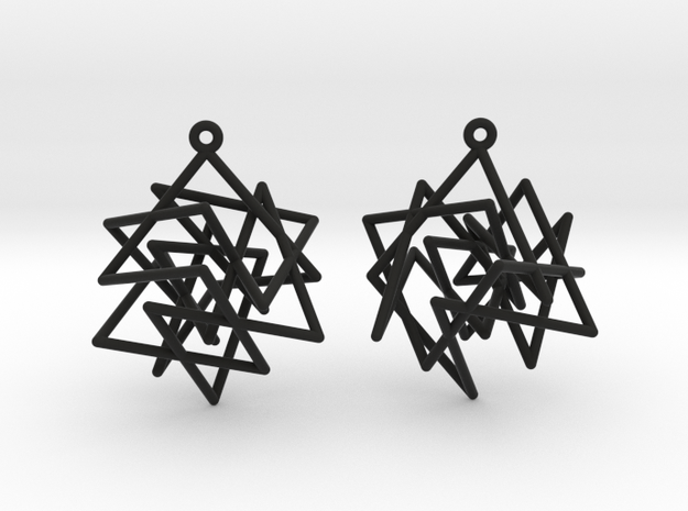 Knight's Tour Cube Earrings in Black Natural Versatile Plastic