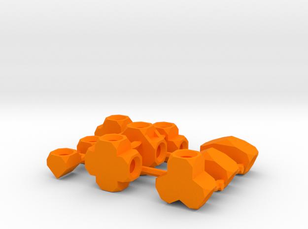 Compound Sockets Sprue Small Scale in Orange Processed Versatile Plastic