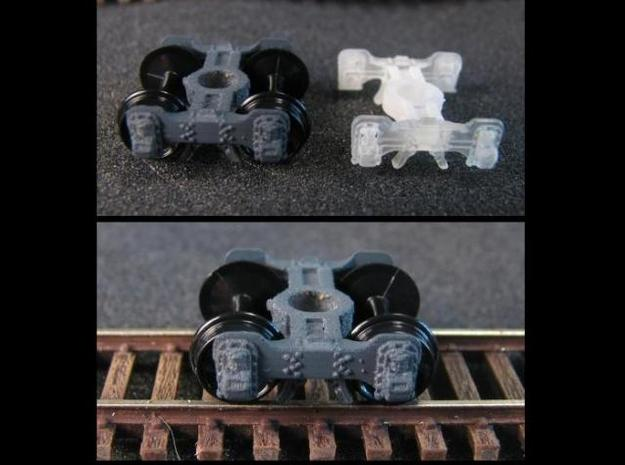 T95s N scale short Fox truck, screw mount 3d printed pin version shown