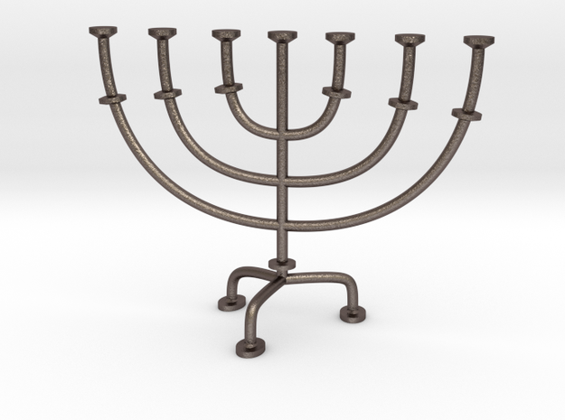 Menorah chandelier 1:12 scale model V2 in Polished Bronzed Silver Steel