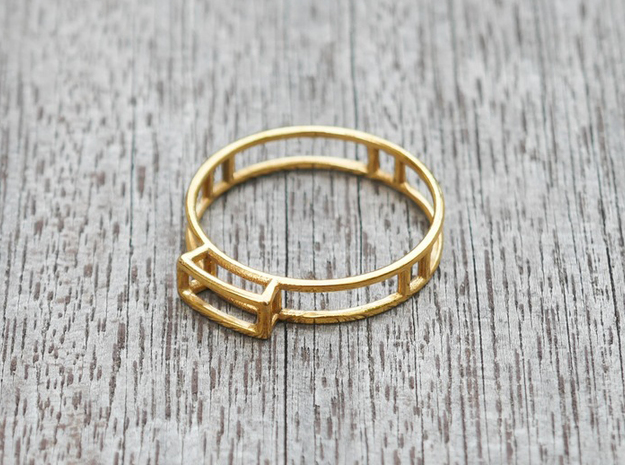 GEM Ring  in 18k Gold Plated Brass: Small