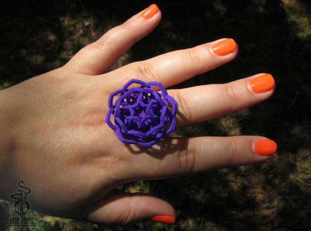 Transcendence Lotus Ring, adjustable size large 3d printed