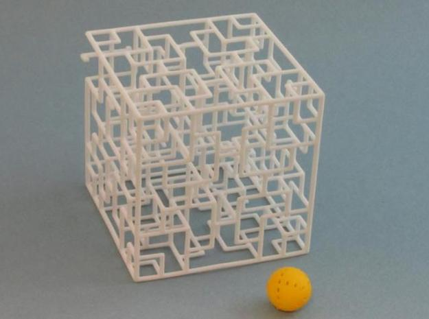 Twisted Symmetry 3d printed with yellow painted ball