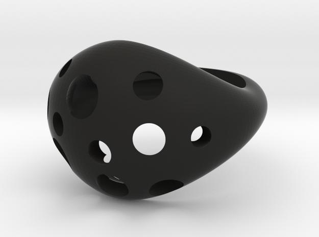 Moon Rock Statement Cocktail Ring in Black Premium Versatile Plastic: 8 / 56.75