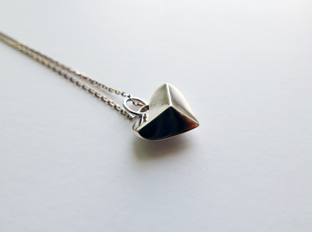Geometric Heart Pendant in Fine Detail Polished Silver