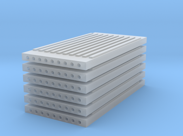 'N Scale' - (6) Precast Panel - Ribbed - 20'x10'x1 in Smooth Fine Detail Plastic