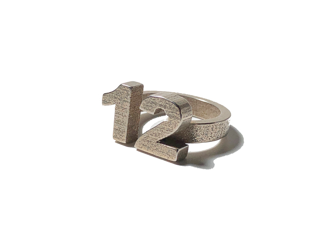 12 Ring Size 7 in Polished Bronzed Silver Steel: 7 / 54