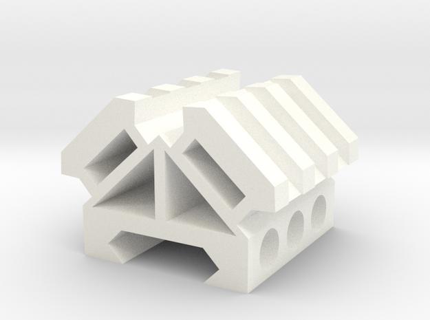 Picatinny rail splitter to 2 - 3 slot triangle in White Processed Versatile Plastic
