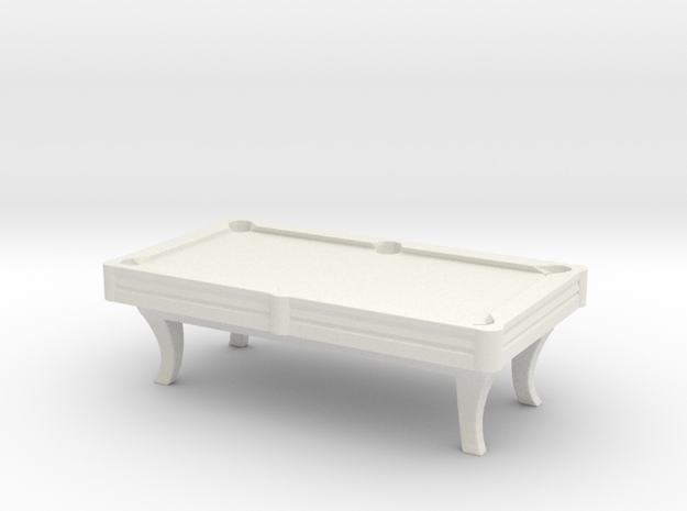 Pool Table 01. HO Scale (1:87) in White Natural Versatile Plastic