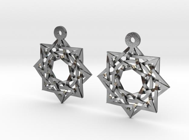 """8:8 Stargate Earrings 1"""" in Polished Silver"""
