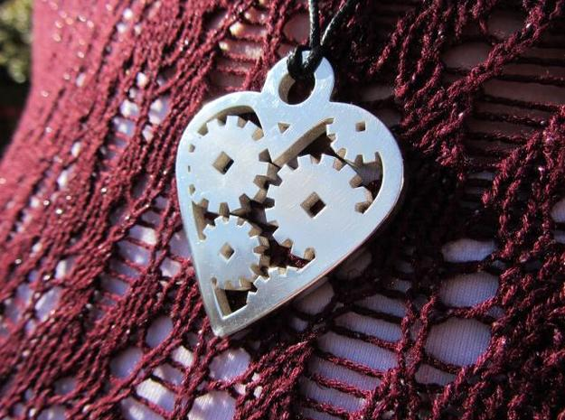 """Love Machine"" pendant 3d printed silver glossy finish pendant - looks great with a black leather cord"