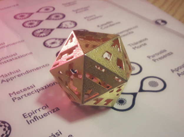 Plato's Icosahedron - The One in Polished Gold Steel