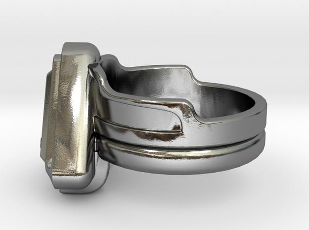 Doctor Evil Ring v2 size 7.50 17.75mm in Polished Silver