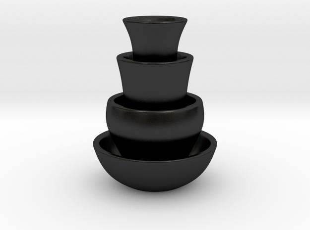 Vase Design 2 (side Grass Planters) in Matte Black Porcelain
