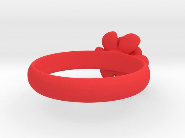 Flower Ring in Red Processed Versatile Plastic