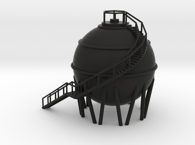 Chemical Spherical Storage Tank - N 160:1 Scale in Black Natural Versatile Plastic
