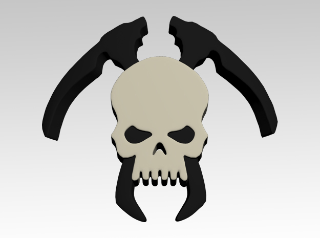Skull & Scythes Shoulder Icons x50 in Smooth Fine Detail Plastic