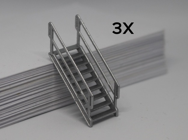 HO 3x Stairs #9 in Smooth Fine Detail Plastic