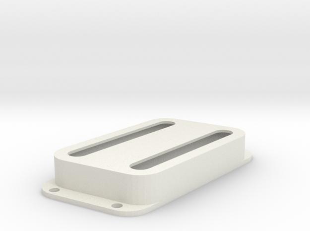 Strat PU Cover, Double Wide, Angled, Open in White Premium Versatile Plastic