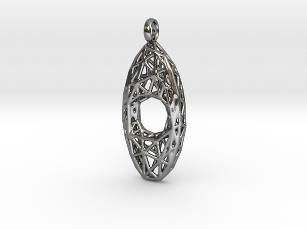 Oval Mesh Pendant 4 in Polished Silver