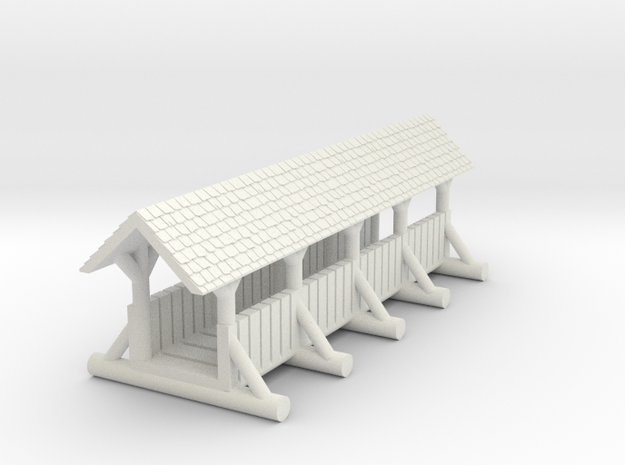 small foot bridge    planked roof long