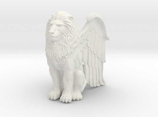 Winged Lion Statue. 75mm tall  in White Natural Versatile Plastic
