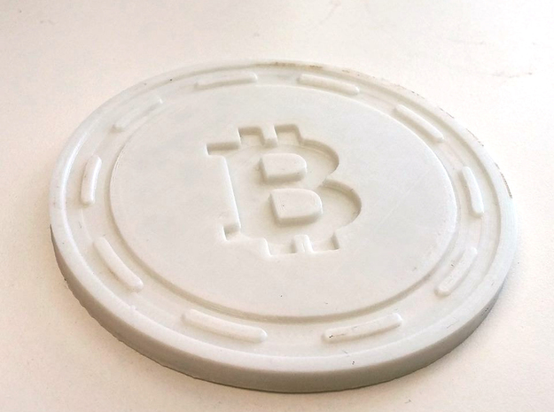 Bitcoin Themed Coaster in White Natural Versatile Plastic
