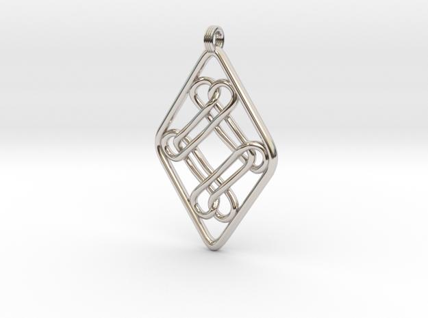 DBCK Pendant in Rhodium Plated Brass