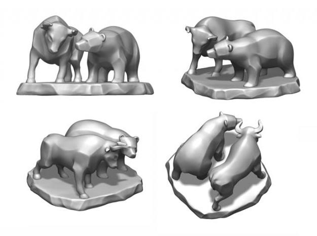 Bull And Bear Stock Exchange Sculpture 3d printed