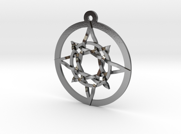 """Iso 8 Pointed Star Pendant 1.2"""" in Polished Silver"""