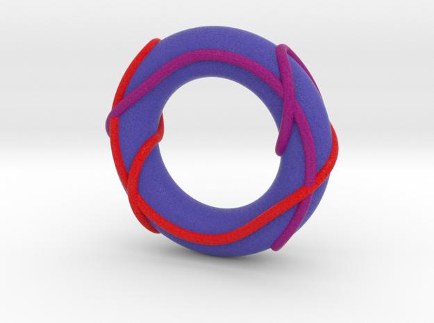 Full Color Linked Trefoils on Torus (Large) in Full Color Sandstone