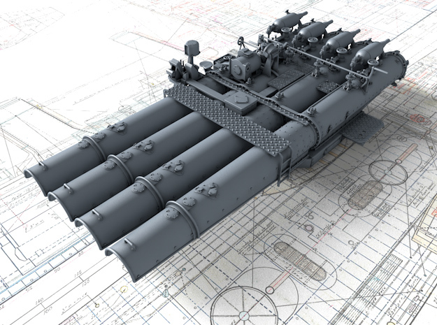 """1/128 Royal Navy 21"""" Quad Torpedo Tubes x1 in Smoothest Fine Detail Plastic"""