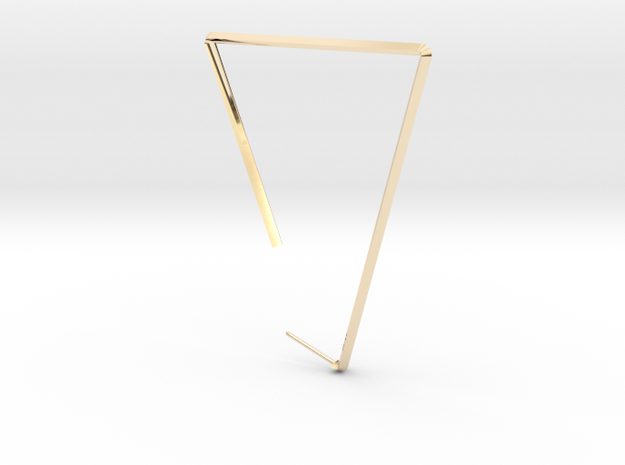 Single Large Triangle Earring  in 14k Gold Plated Brass