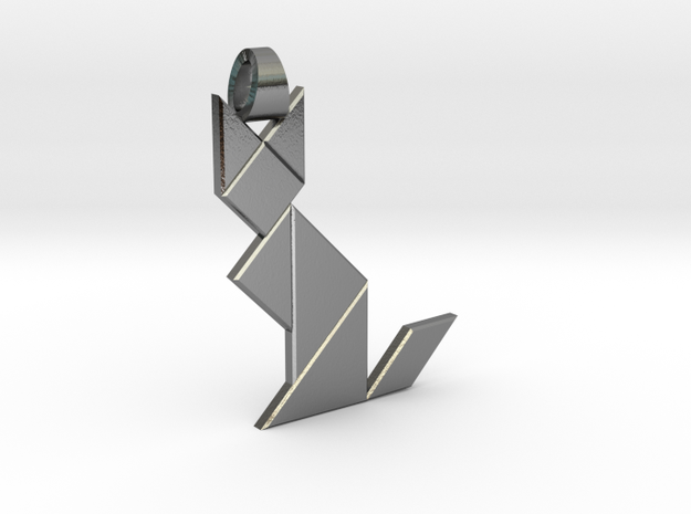 Cat tangram [pendant] in Polished Silver