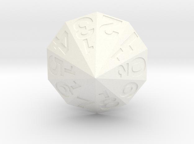 d20 Decagonal Dipyramid in White Processed Versatile Plastic