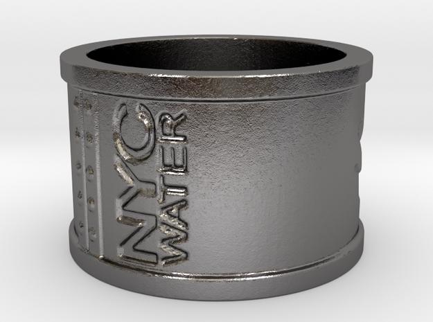 Handprint Pipe Ring (Metal) in Polished Nickel Steel: 5 / 49