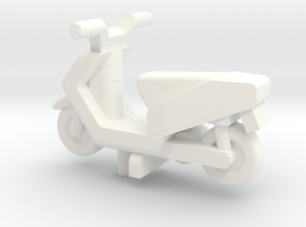 OO Gauge Generic Moped in White Processed Versatile Plastic