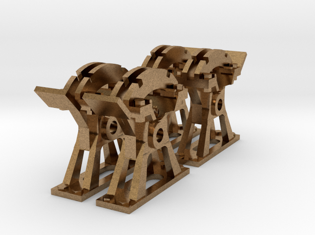 4 Supports Simples pour levier à cran in Natural Brass