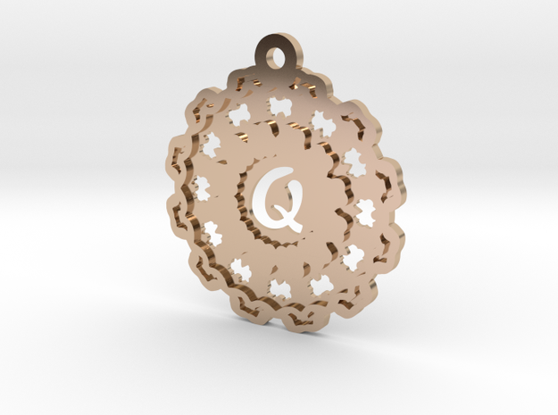 Magic Letter Q Pendant in 14k Rose Gold Plated Brass