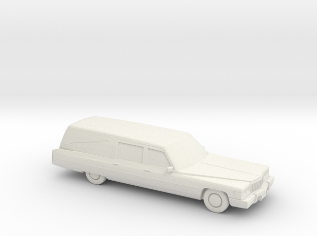 1/76 1975 Cadillac Hearse in White Natural Versatile Plastic