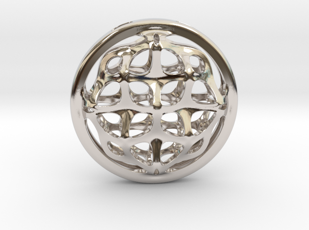 Ornamental porthole. Pendant in Rhodium Plated Brass